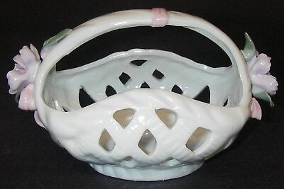 BASKET Ceramic Handled Woven reticulated Applied Floral flowers
