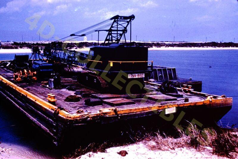 Original slide photo 1961 Port Canaveral Barge Link-Belt Crane