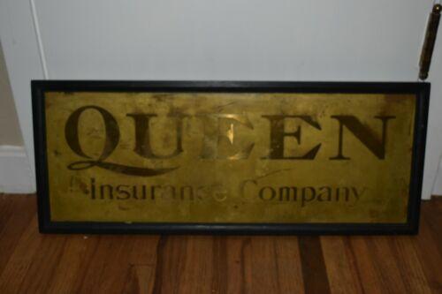 Vintage original QUEEN INSURANCE COMPANY Advertising Framed SIGN