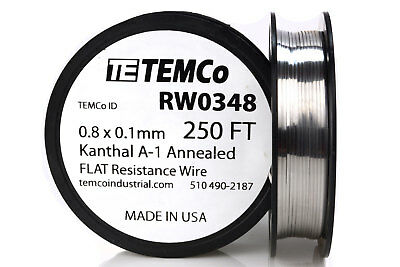 Temco Flat Ribbon Kanthal A1 Wire 0.8mm X 0.1mm 250 Ft Resistance A-1