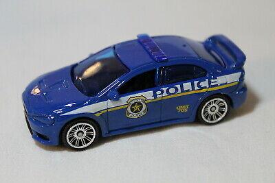 MATCHBOX MITSUBISHI LANCER EVOLUTION X POLICE CAR BLUE VARIATION LOOSE