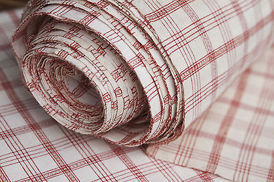 Ballen Halbleinen Karo Stoff  500 /84cm Breite weiss/rot,Antique Fabric