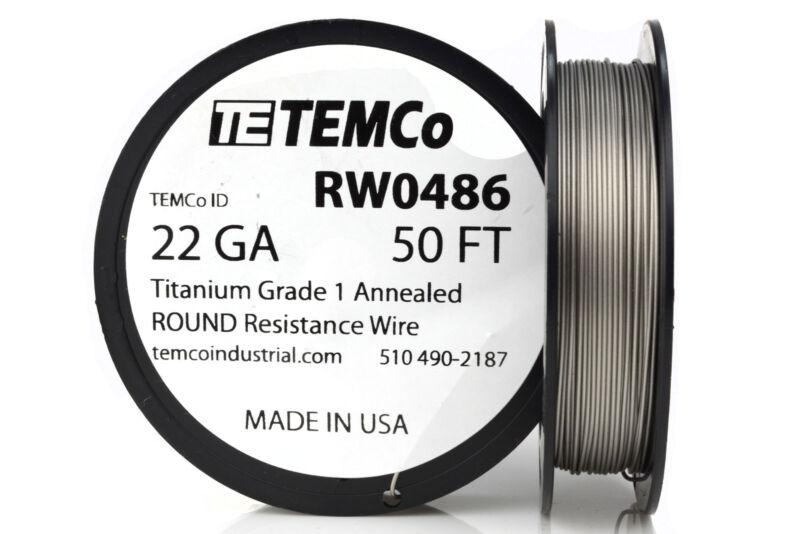 TEMCo Titanium Wire 22 Gauge 50 FT Surgical Grade 1 Resistance AWG ga