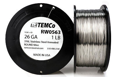 Temco Stainless Steel Wire Ss 316l - 26 Gauge 1 Lb Non-resistance Awg Ga