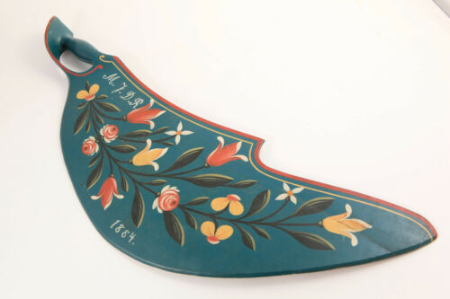 Original Swedish Hand Painted Floral Flax Scutching Tool Knife Blue Dated 1884