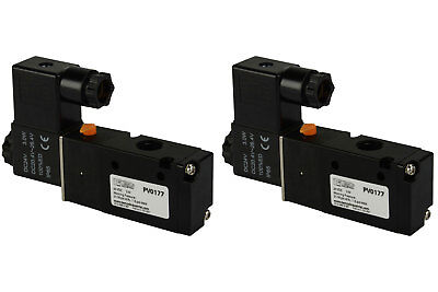 2x 24v Dc Solenoid Air Pneumatic Control Valve 3 Port 3 Way 2 Position 14 Npt