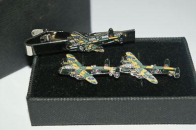 Lancaster Cufflinks - Lancaster Bomber Cufflinks & Tie Clip Set GIFT Boxed WW11 Aviation Aeroplane RAF
