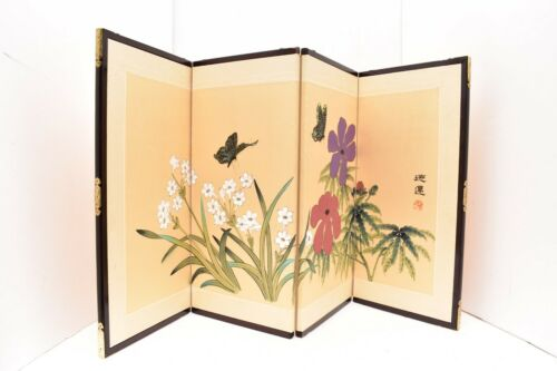VTG Japanese Chinese 4 Panel Folding Screen Byobu Painted 33x17 Tabletop Signed