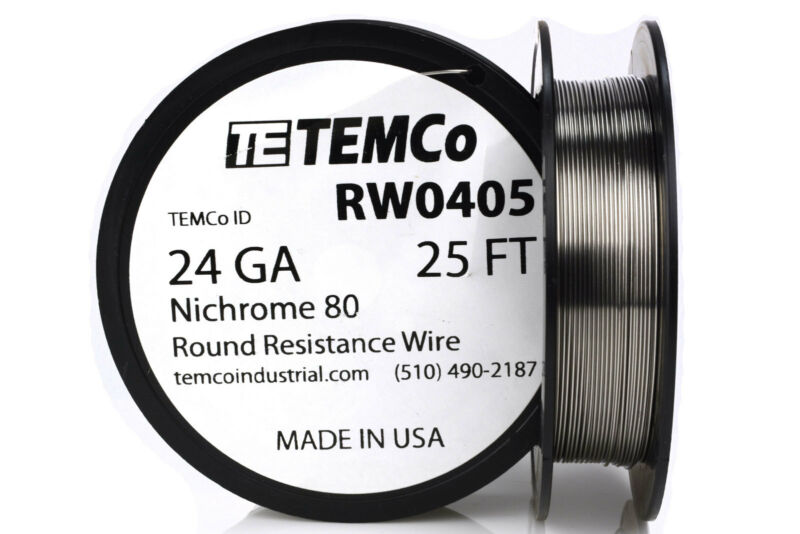 TEMCo Nichrome 80 series wire 24 Gauge 25 FT Resistance AWG ga