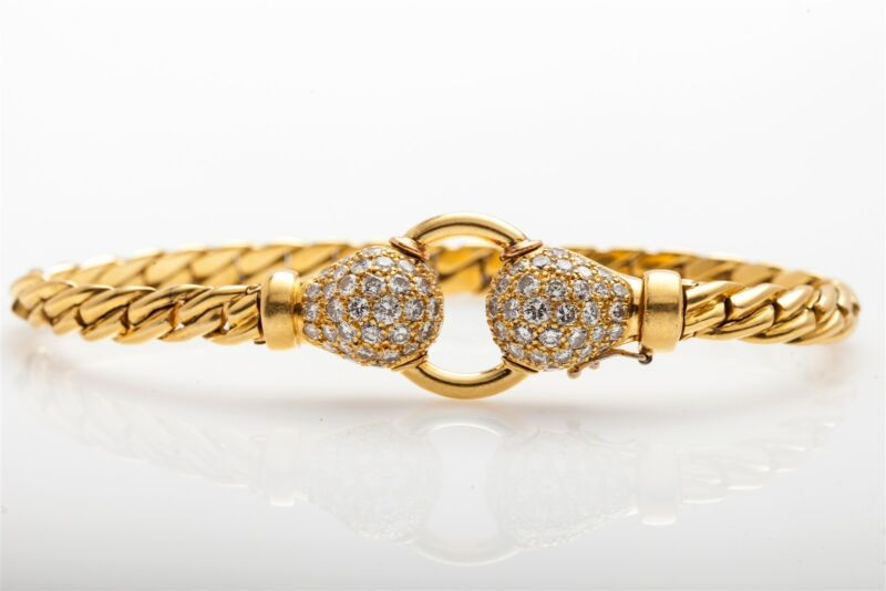 Vintage FRENCH $10,000 2ct VS F Diamond 18k Gold CUBAN LINK Dinner Bracelet 35g