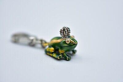 Rare 2005 Juicy Couture Frog Prince Charm Green Rhinestone Retired Enamel Bin7 Enamel Frog Charm