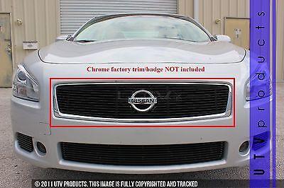 GTG Gloss Black 1PC Upper Overlay Billet Grille fits 2012 - 2014 Nissan Maxima ()