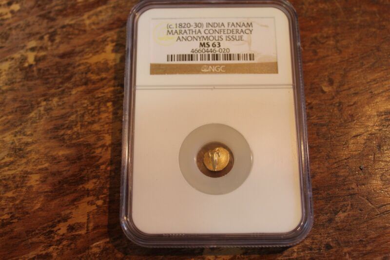 INDIA GOLD FANAM - MARATHA CONFEDERACY NGC MS63 1820 - 1830