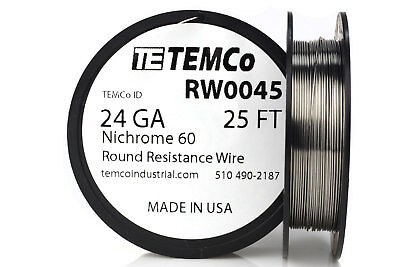 Temco Nichrome 60 Series Wire 24 Gauge 25 Ft Resistance Awg Ga