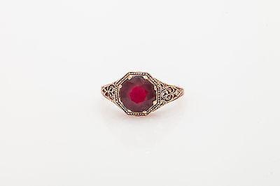 Estate 2Ct Natural Ruby 14K Rose Gold Filigree Ring
