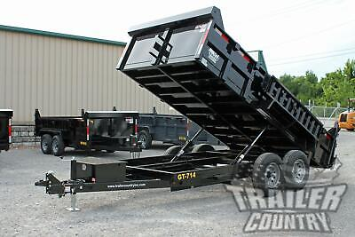 New 7 X 14 14k Gvwr Hydraulic Power Up Down Dump Trailer Equipment Hauler
