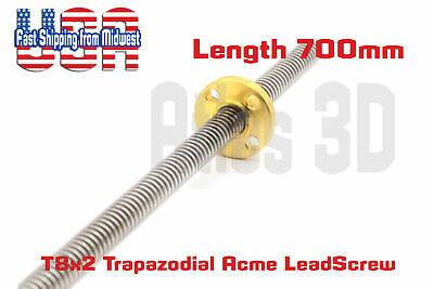 T8x2 8mm Acme Trapezoidal Lead Screw W Nut Length 700mm