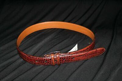 Polo Ralph Lauren Italian Leather Brown Alligator Crocodile Print Belt, Size 32
