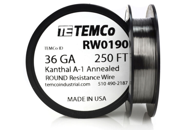 TEMCo Kanthal A1 wire 36 Gauge 250 Ft Resistance AWG A-1 ga