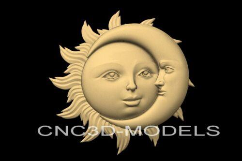 3D Model STL for CNC Router Engraver Carving Artcam Aspire Moon Face n720