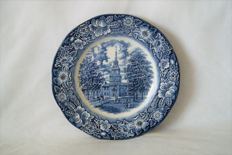 Set of 5 Vintage Liberty Blue England Independence Hall Dinner Plates 9.75""