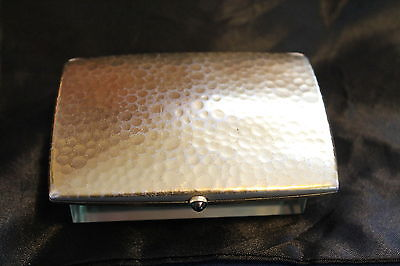 800 Silver Hammered Gold Washed Cigarette Case W/Sapphire Button