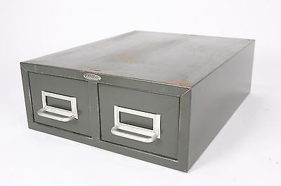 Cole-steel Industrial 2-drawer Index Card File Green Metal Cabinet Steampunk