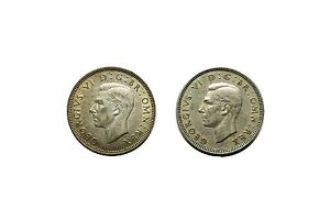 1942 Silver 1947 Great Britain One Shilling Lot of 2 Coins Silver