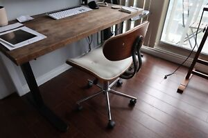 Modern White and Walnut Office Chair