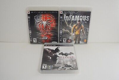 PS3 Game Bundle LOT: Spiderman 3 Batman Arkham City Infamous CIB Tested