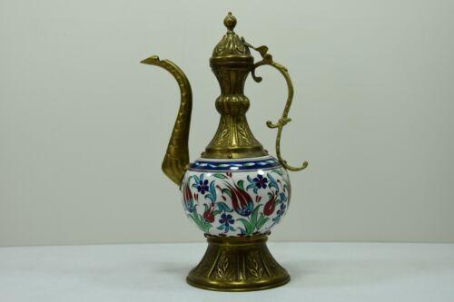 Antique Turkish Porcelain Iznik Kutahya Ibrik Ceramic Brass Ottoman Style