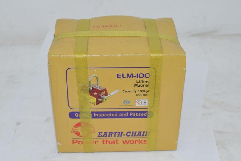 NEW Techniks Earth-Chain ELM-100 EZ-Lift Permanent Lifting Magnet 220 lbs.