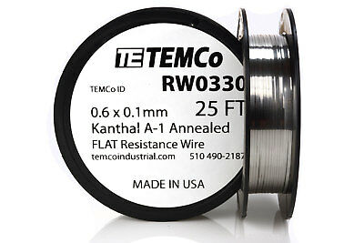 Temco Flat Ribbon Kanthal A1 Wire 0.6mm X 0.1mm 25 Ft Resistance A-1
