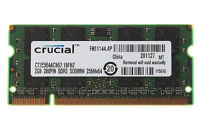 - 2GB Crucial 2 GB PC2-5300 DDR2-667MHz 200pin Sodimm Laptop Memory RAM PC5300 CL5