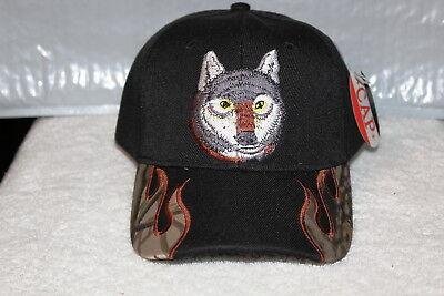 WOLF HEAD OUTDOOR BASEBALL CAP HAT ( BLACK ) (Wolf Head Hat)