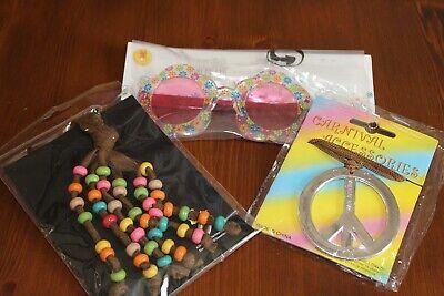 Hippie Kostüm Set Brille Haarband Peace Zeichen für Kostümfest Mottoparty