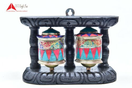 "4""Wall Hanging Authentic Buddhist Tibetan Turquoise Coral Handmade Prayer wheel"