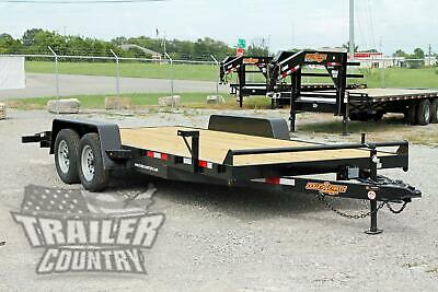 New 2020 7 X 18 7k Heavy Duty Wood Deck Car Hauler Equipment Trailer W Ramps