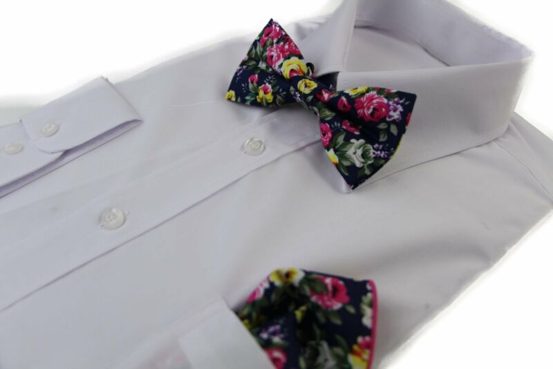 Mens Navy With Pink & Yellow Flowers Cotton Bow Tie & Pocket Square Set