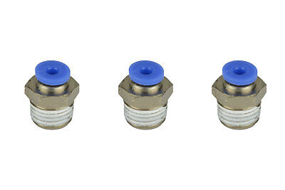 3x Temco Pneumatic Air Quick Push To Connect Fitting 14 Npt To 18 Hose Od