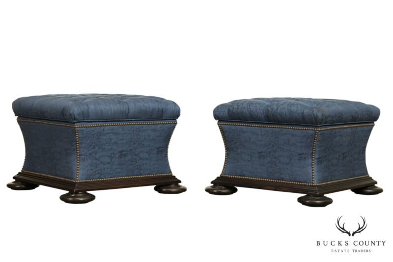 Regency Style Large Pair Custom Tufted Upholstered Storage Ottomans