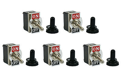 5 Pc Temco 20a 125v On-off Dpst 4 Terminal Toggle Switch W Waterproof Boot Cap