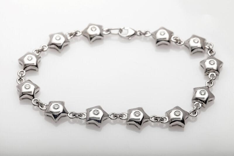 Designer H Stern $8000 1.50ct Vs G Diamond Star 18k White Gold Tennis Bracelet