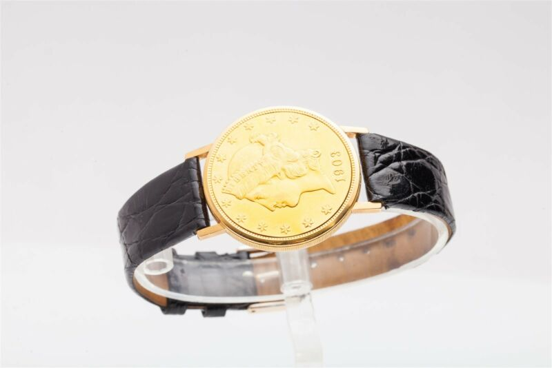 Vintage Universal $20 Us Liberty 1903 Gold Coin Mens Dress 18k 22k Watch Rare