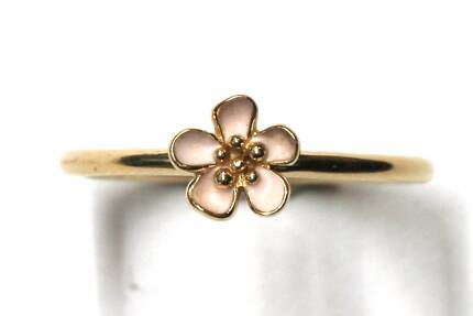 Cherry Blossom Stackable Ring, Pink & 14K Gold Pandora Ring