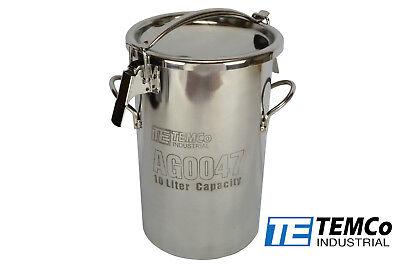 Temco 10 Liter 2.5 Gallon Stainless Steel Milk Can Wine Pail Bucket Tote Jug