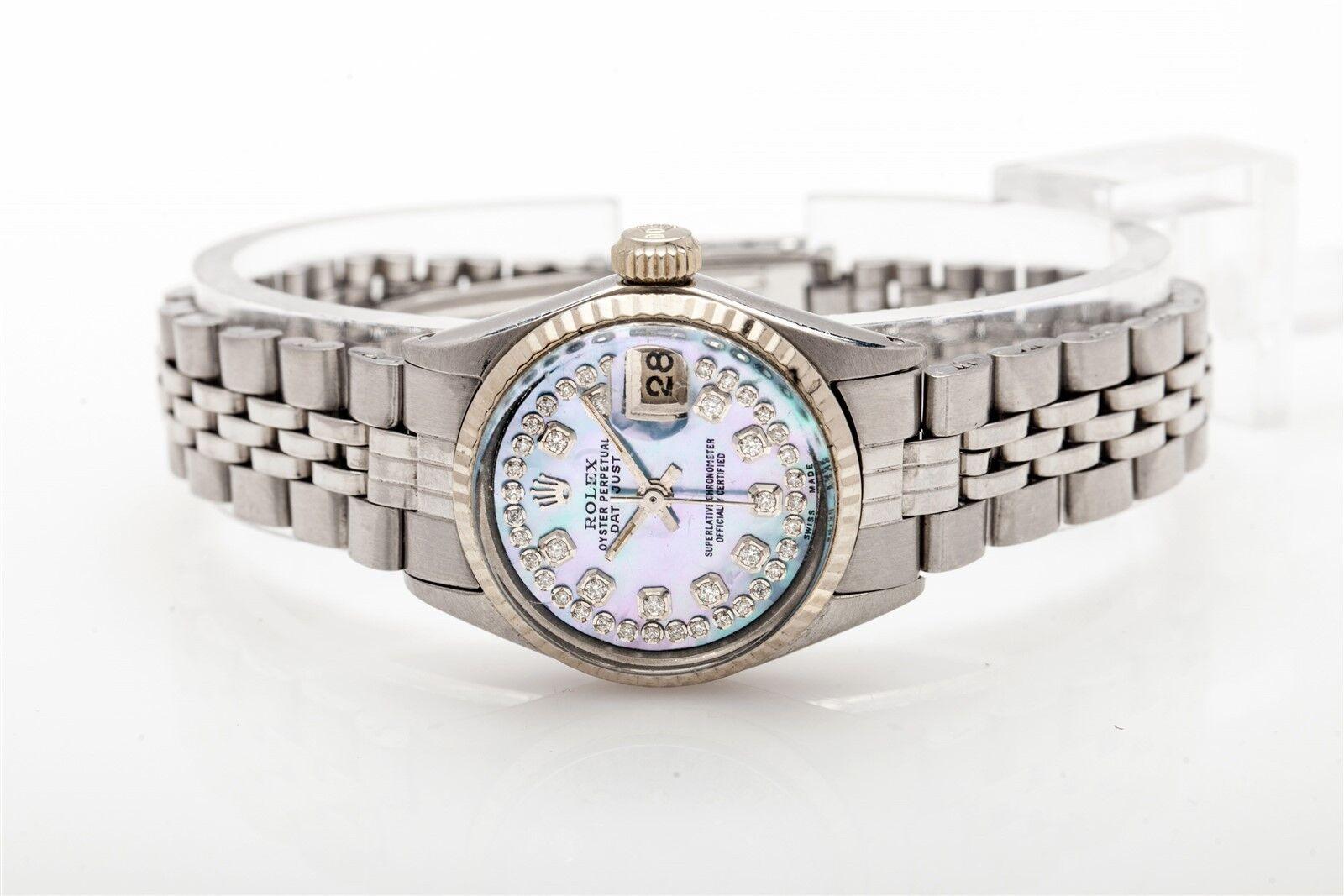 $7000 Genuine Blue Purple MOP Diamond SS 18k White Gold Ladies Datejust Rolex