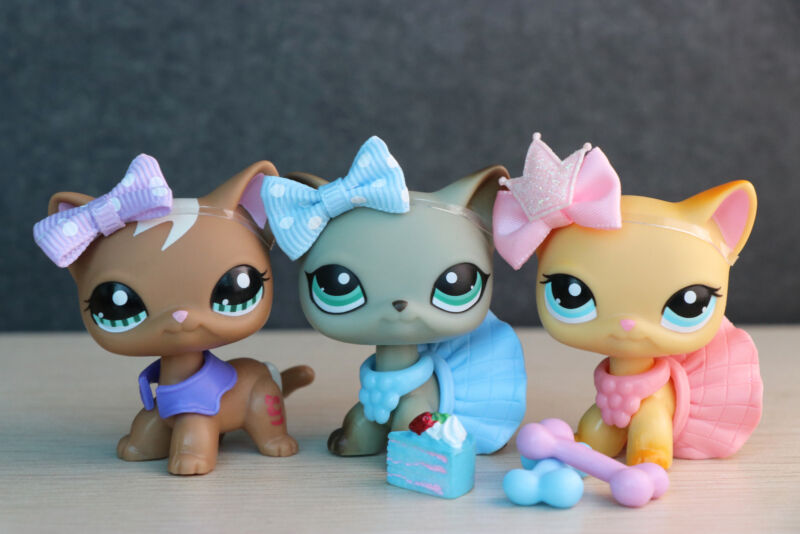 3lot Littlest Pet Shop lps Short hair cat 1170 391 363 Kitty with Accessories