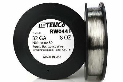 Temco Nichrome 80 Series Wire 32 Gauge 8 Oz 2731.5ft Resistance Awg Ga