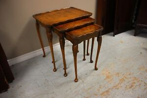 Carved Nesting Table Set $125 (burled wood top)